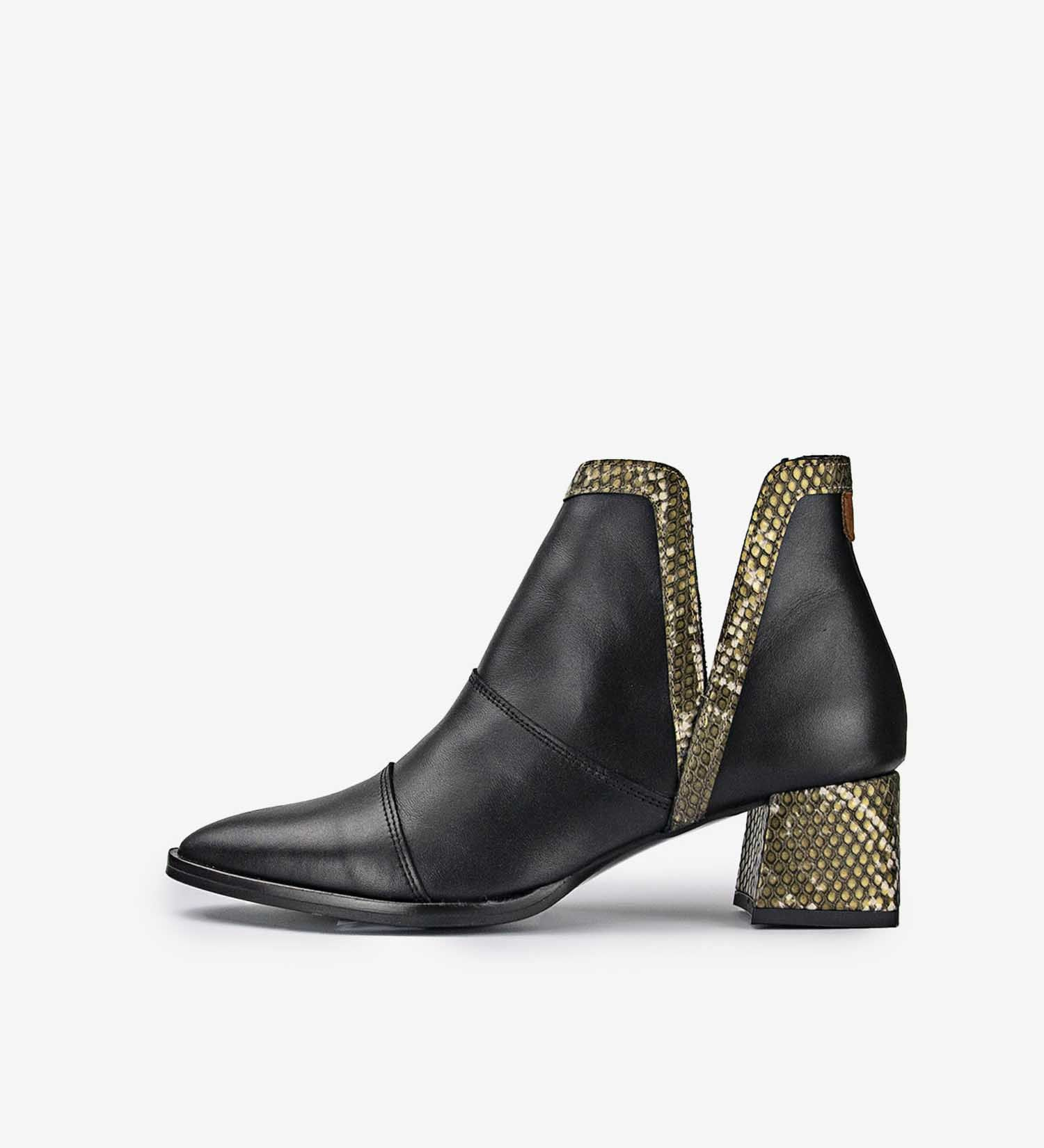 Aurora Snake Black and Yellow Ankle Boots