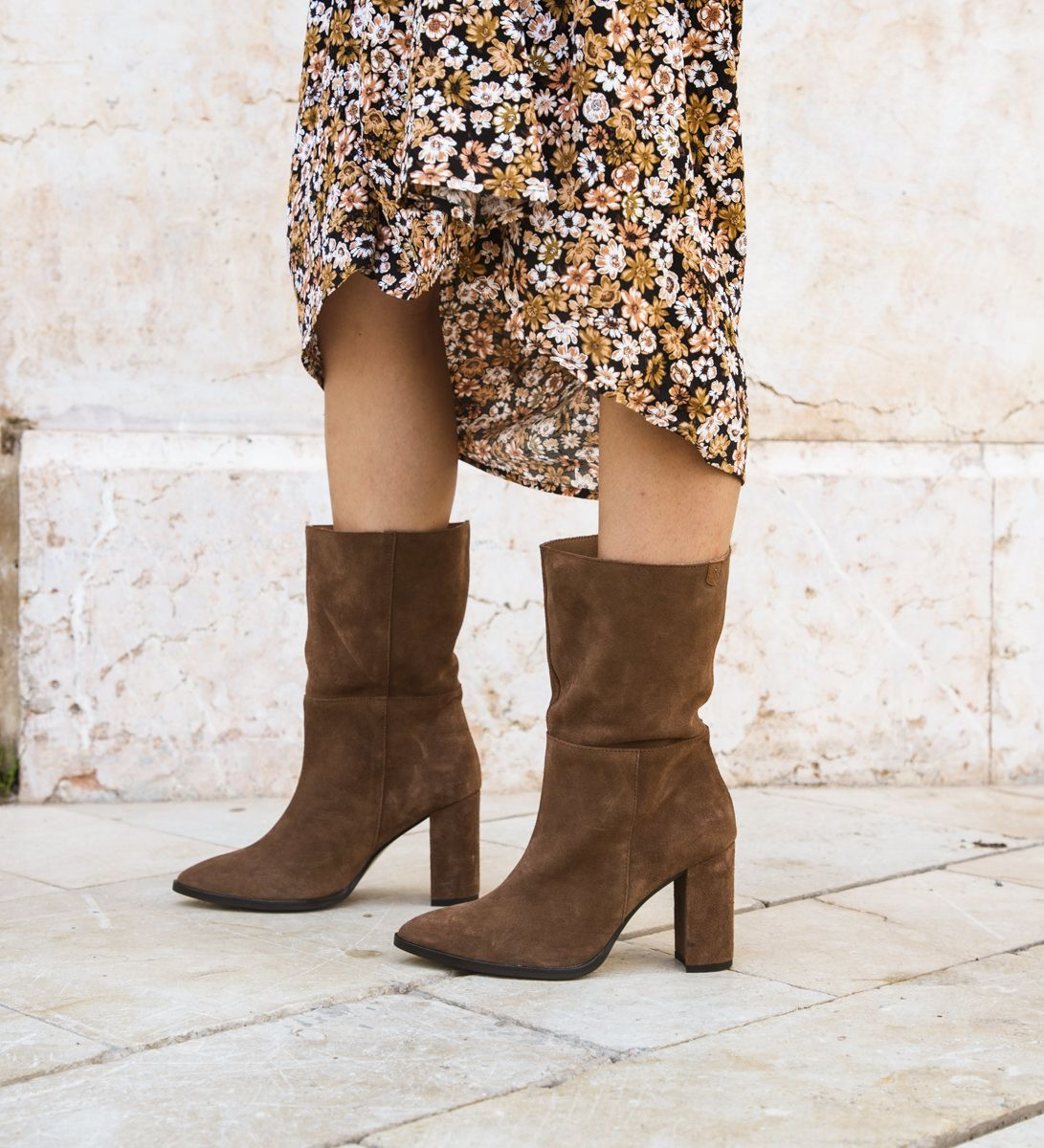 Claudia Boots Brown Split Leather