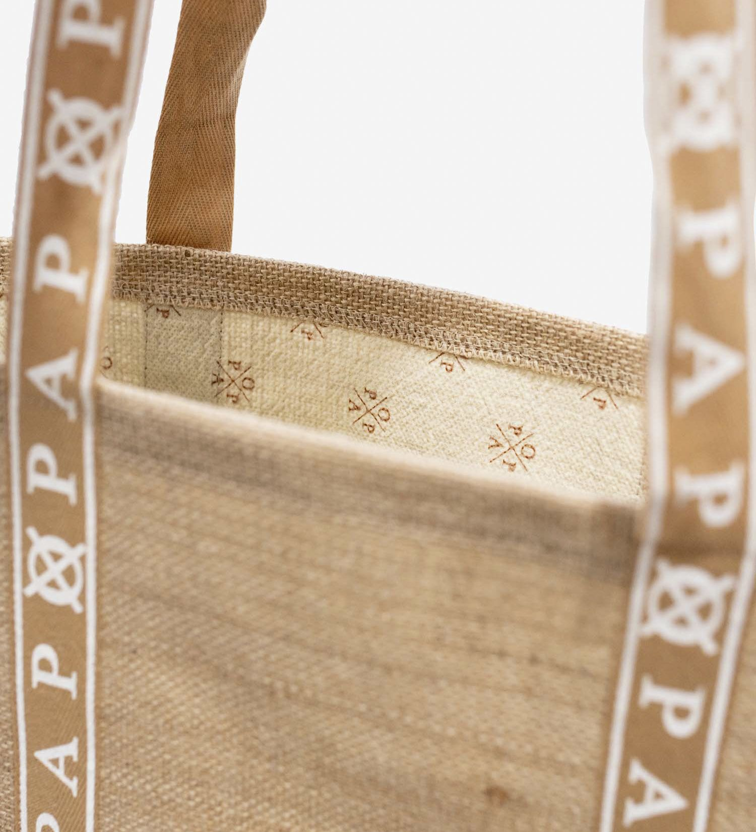 Audrey White and Jute Tote Bag