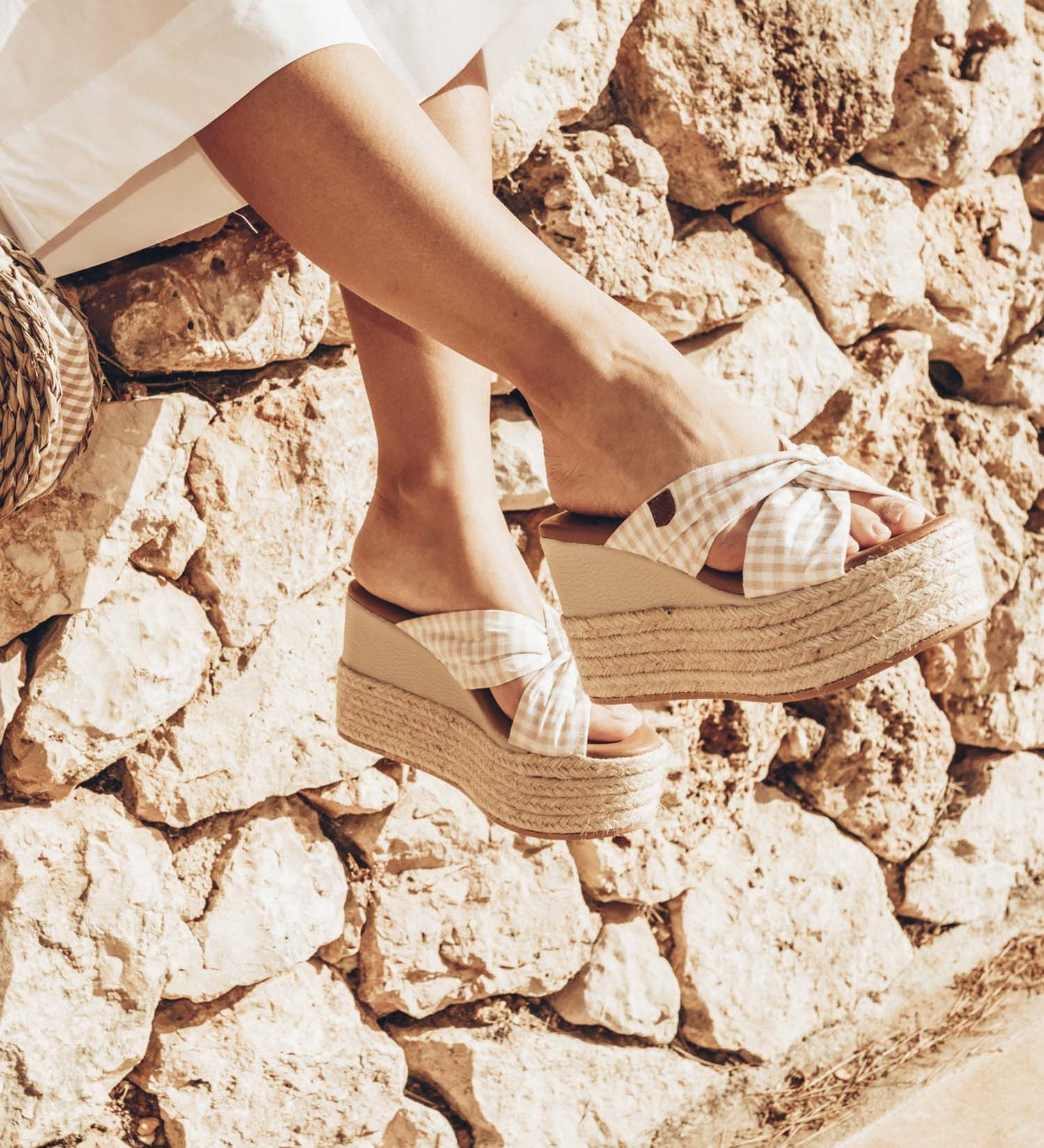 Coco Beige Gingham Wedges