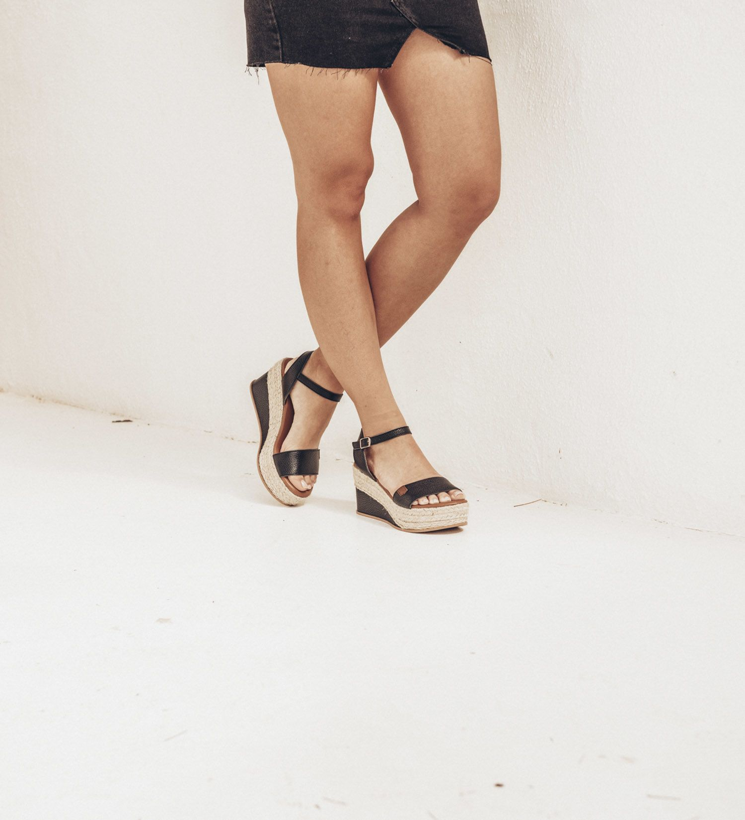 Congo Black Sauvage Leather Wedges
