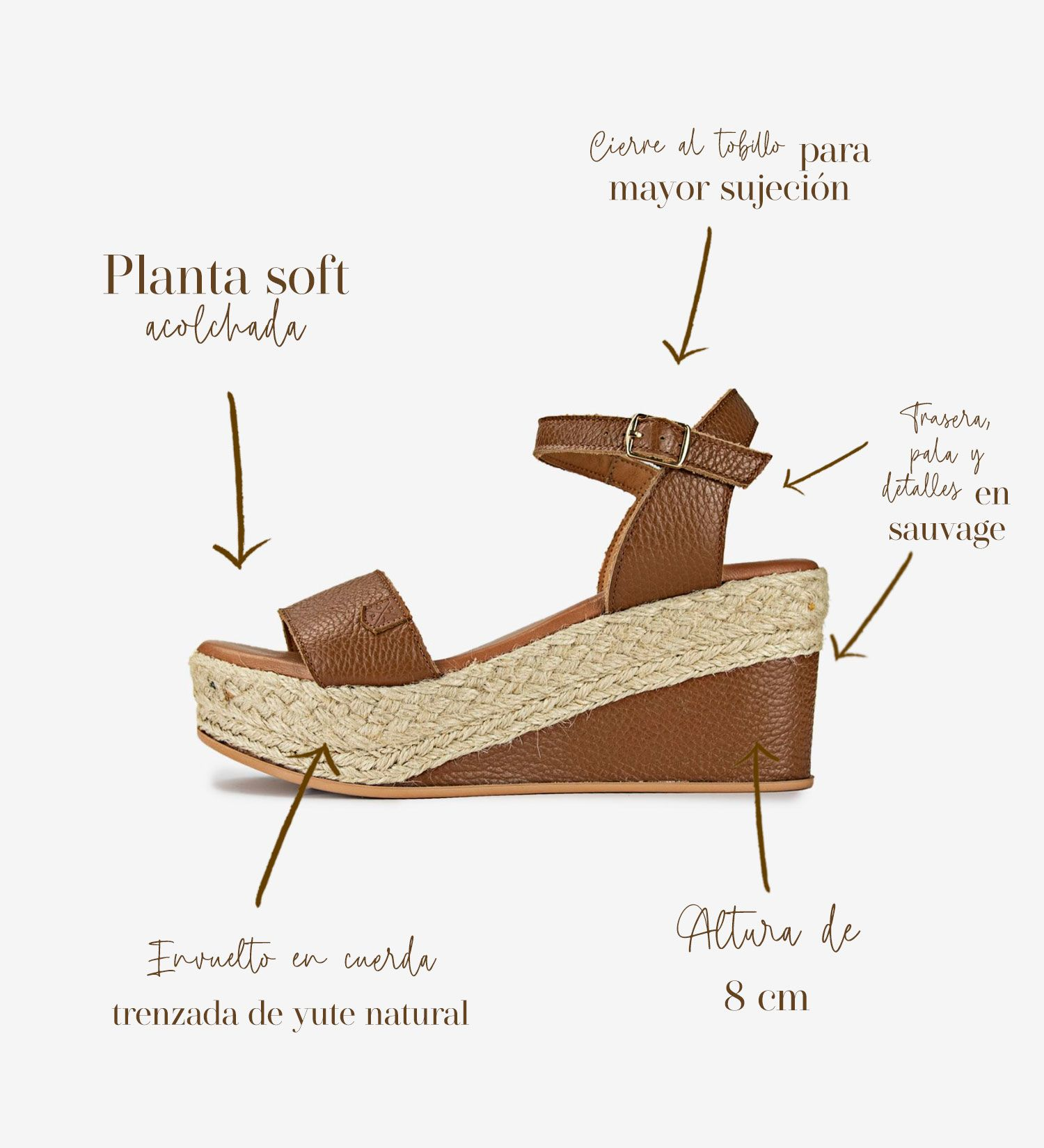 Congo Brown Sauvage Leather Wedges